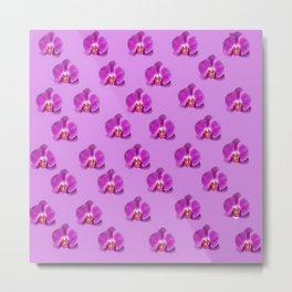 Purple Butterfly Orchids Patterns Golden Art Metal Print