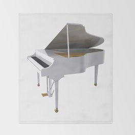 White Grand Piano Throw Blanket