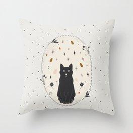 Lucky Black Cat Throw Pillow