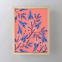 Frondescence - Coral / Blue Framed Mini Art Print