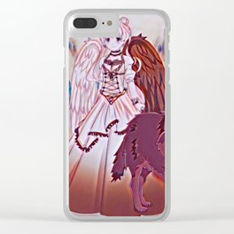 Wolf Princess Monochrome (black wolf) Clear iPhone Case