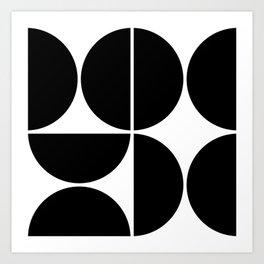 Mid Century Modern Black Square Art Print