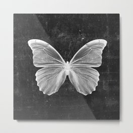 Butterfly in Black Metal Print