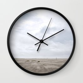 Grayland Beach on a Cloudy Day Wall Clock