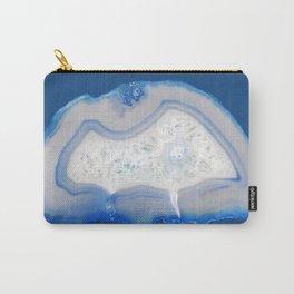 agate, quartz, crystal stone cornflower blue, royal blue, cobalt, gray Carry-All Pouch
