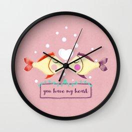 VALENTINE'S FISH IN LOVE Wall Clock