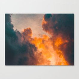Beautiful Orange Whimsical Clouds Cotton Candy Texture Sky Cloud Photo Renaissance Painting Canvas Print