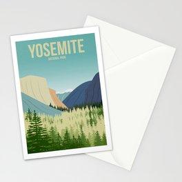 Yosemite National Park - Travel Poster -  Minimalist Art Print Stationery Cards