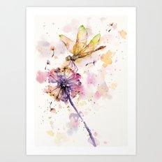 Dragonfly & Dandelion Dance Art Print