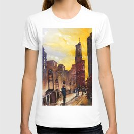 Painting of skyscrapers in downtown Chicago, Illinois- USA T-shirt