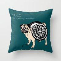 yolo Throw Pillows featuring YOLO by Huebucket
