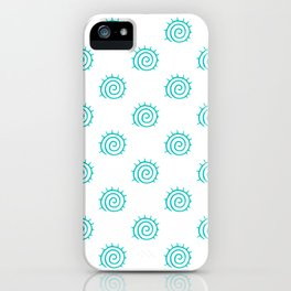 Aqua Spiral Abstract Pattern iPhone Case