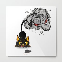 Cute Funny Cats Dogs Mouse Sticker Metal Print