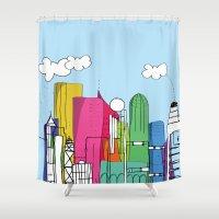 hong kong Shower Curtains featuring HK (Hong Kong) by zadatagli