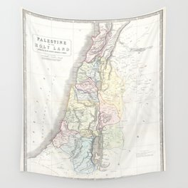 Old 1852 Historic State of Palestine Map Wall Tapestry
