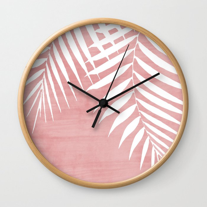 Pink Paint Stroke of Palm Leaves Wall Clock