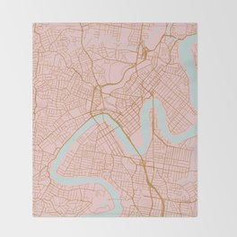Pink and gold Brisbane map Throw Blanket