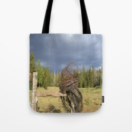 Barbed Wire Up in the White Mountains Arizona Tote Bag