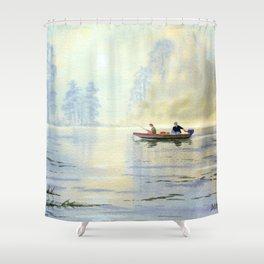 Misty Sunrise Over The Lake Shower Curtain