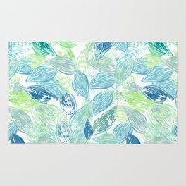 Beach Leaves Block Print Style Pattern Rug