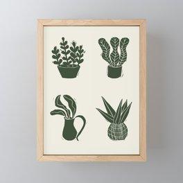 Green on Ivory houseplant linocut pattern  Framed Mini Art Print