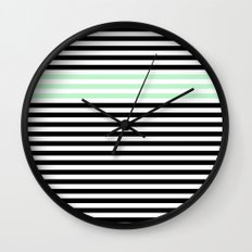 Chic Black, Mint and White Stripes Wall Clock