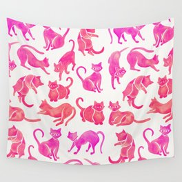 Cat Positions – Pink Ombré Palette Wall Tapestry