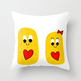 Big Sponge and Little Sponge Throw Pillow