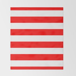 Australian Flag Red and White Wide Horizontal Cabana Tent Stripe Throw Blanket