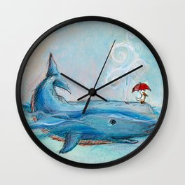 Whimsical Whale and Pelican Wall Clock