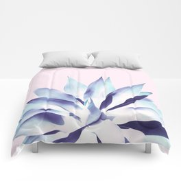 Solar Agave - Pastel blue on pink Comforters