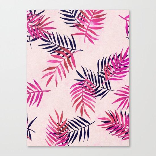 Pink Palm Pattern Canvas Print