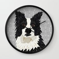 border collie Wall Clocks featuring Beautiful Border Collie by ArtLovePassion