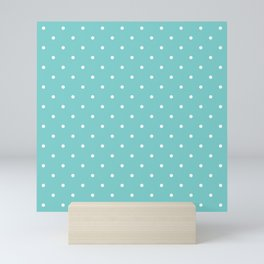 Small White Polka Dots with Aqua Background Mini Art Print
