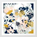 Esther - abstract minimal gold navy painting home decor minimalist hipster art by charlottewinter