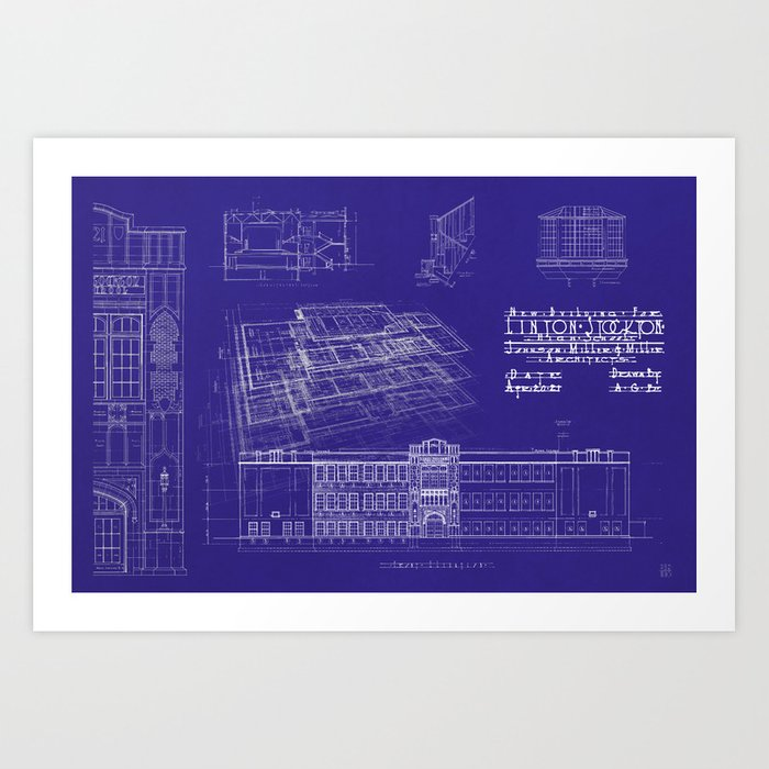 Lhs 1921 blueprint style art print by lintonarchives society6 lhs 1921 blueprint style art print malvernweather Images