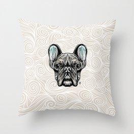 French Bulldog Smilling Throw Pillow