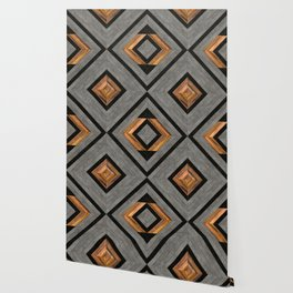 Urban Tribal Pattern 2 - Concrete and Wood Wallpaper