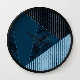 Valencia 3. Abstract, black, blue geometric pattern. Wall Clock