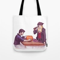 captain swan Tote Bags featuring Captain Swan Halloween by Svenja Gosen