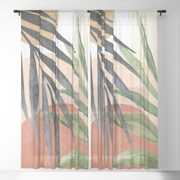 Abstract Tropical Art VI Sheer Curtain