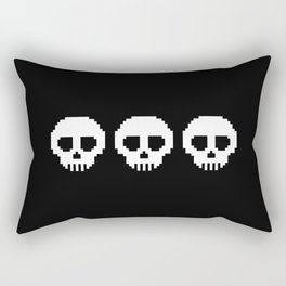 Pixel Skulls - Black Rectangular Pillow