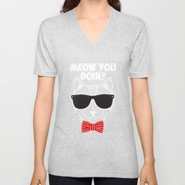 Meow You Doin How Are Doing Hipster Cat Kitten Bowtie Tee Unisex V-Neck