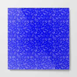 Blue Leaf Pattern Metal Print