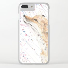 """Watercolor Painting of Picture """"Fox in the Rain"""" Clear iPhone Case"""