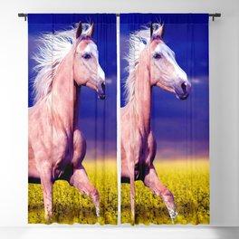 Beautiful Horse Galloping Across Meadow Ultra HD Blackout Curtain