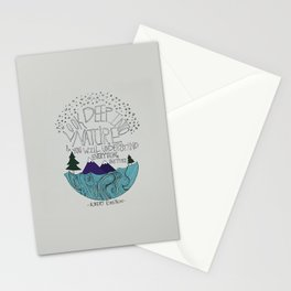 Look Deep into Nature - Ocean Mountain Illustration and Typography Stationery Cards