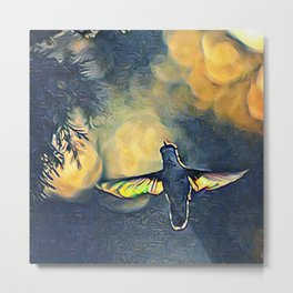 Golden Blue Hummingbird by CheyAnne Sexton Metal Print