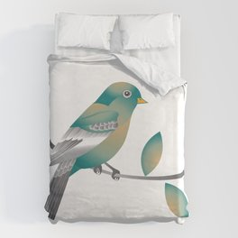 Teal and Gold Bird on a Tree Limb Duvet Cover