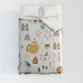 hygge cat and bird gray Comforters